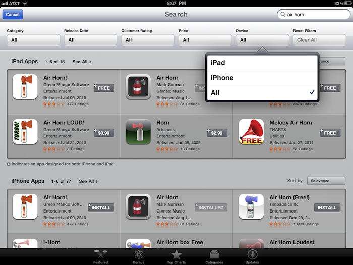 New Search Features Added To The IPad App Store