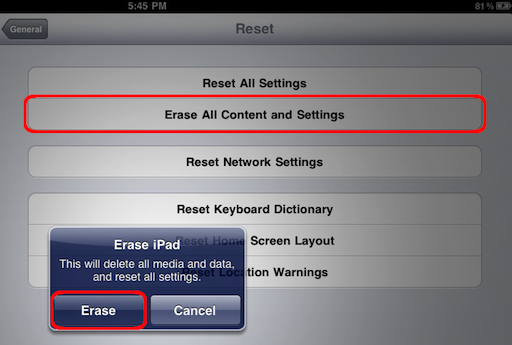 how to clear all data from ipad