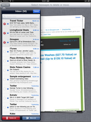 how to delete unread emails on ipad air