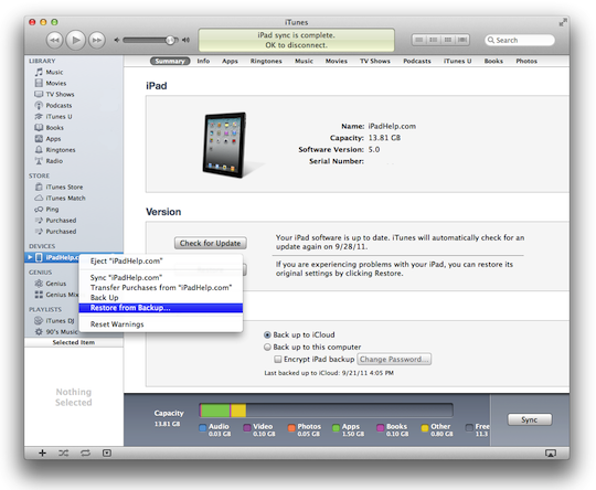 Backup ipad to computer with itunes