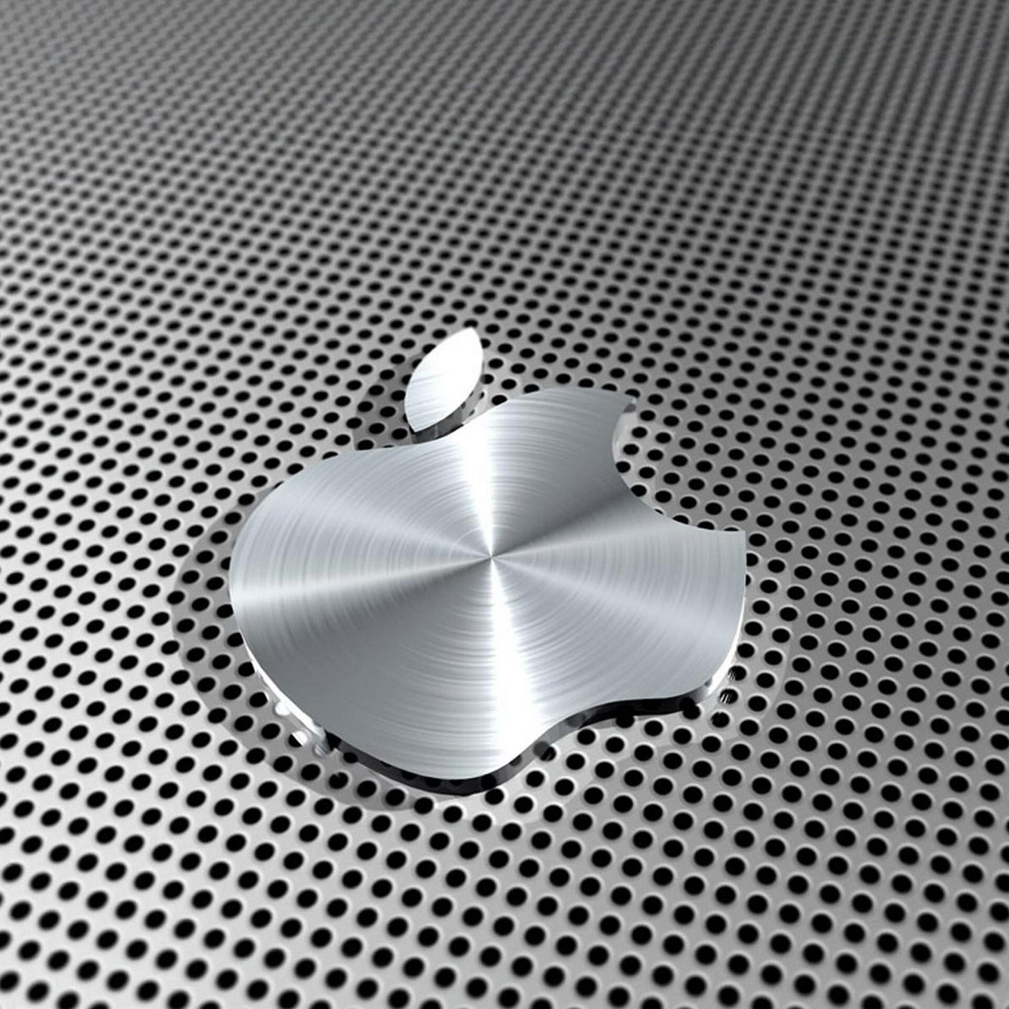 Ipad retina hd wallpaper apple logo in steel ipad ipad for Ecran pc retina