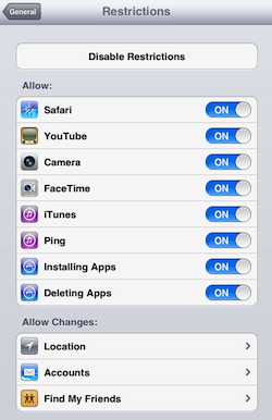 how to get your restrictions password on ipad