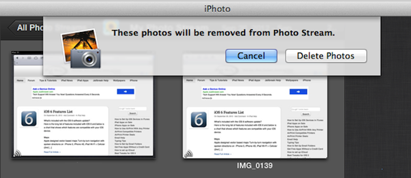 Remove photos from iPhoto stream