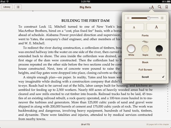 iBooks endless scrolling