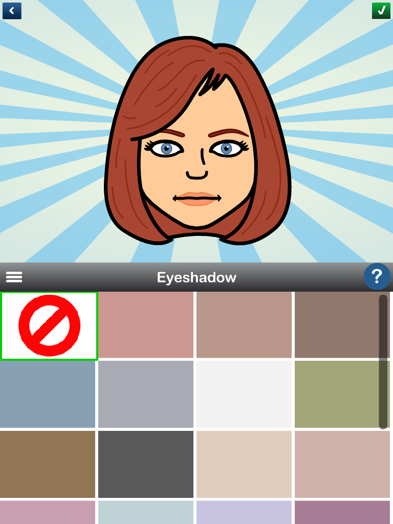 Bitstrips Photos App Bitstrips avatar eyeshadow