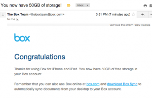 50GB Box Cloud Storage Promotion