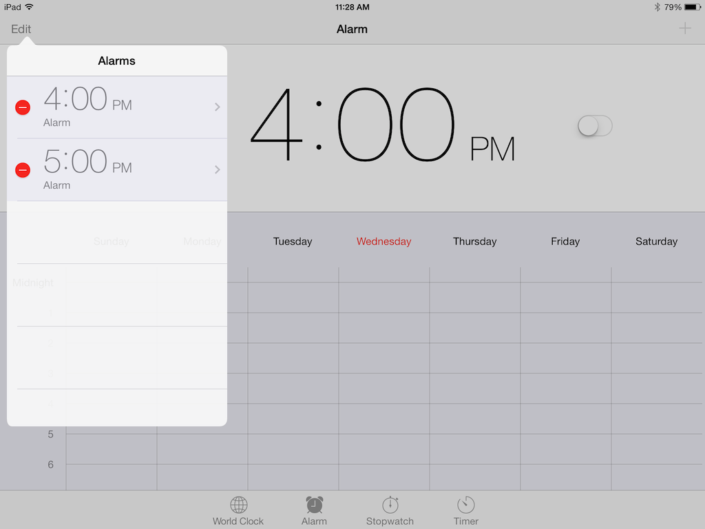 Edit alarms to change your alarm time
