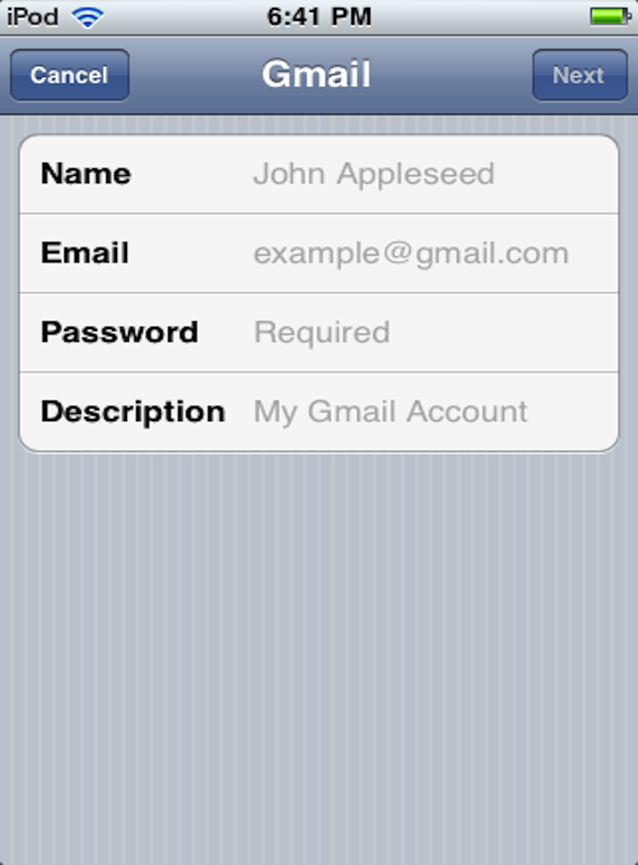 Fill out the information your email demands