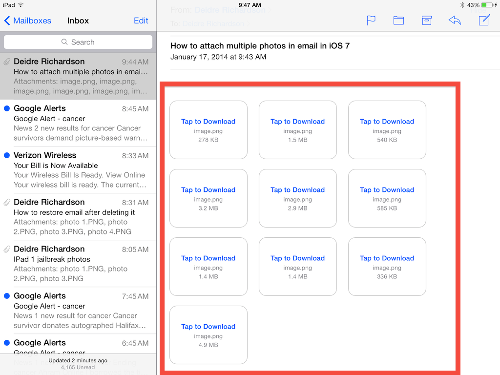 I sent myself 10 screenshots in the iOS 7 mail app to show you it can be done