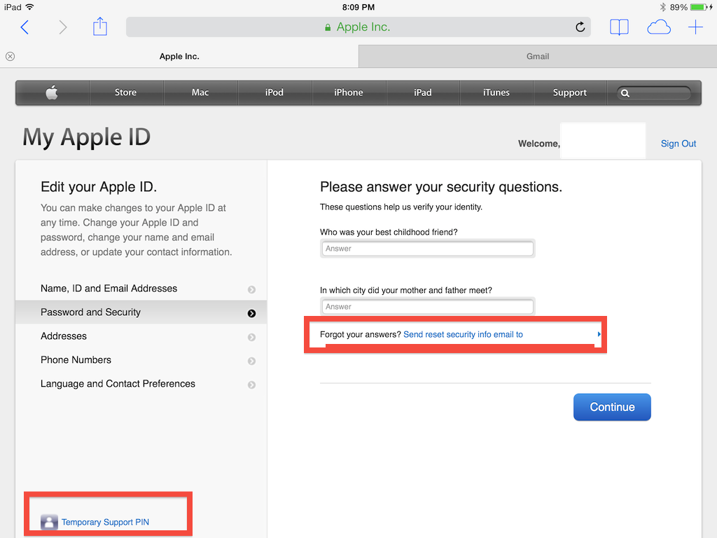 In My Apple ID, request old security answers