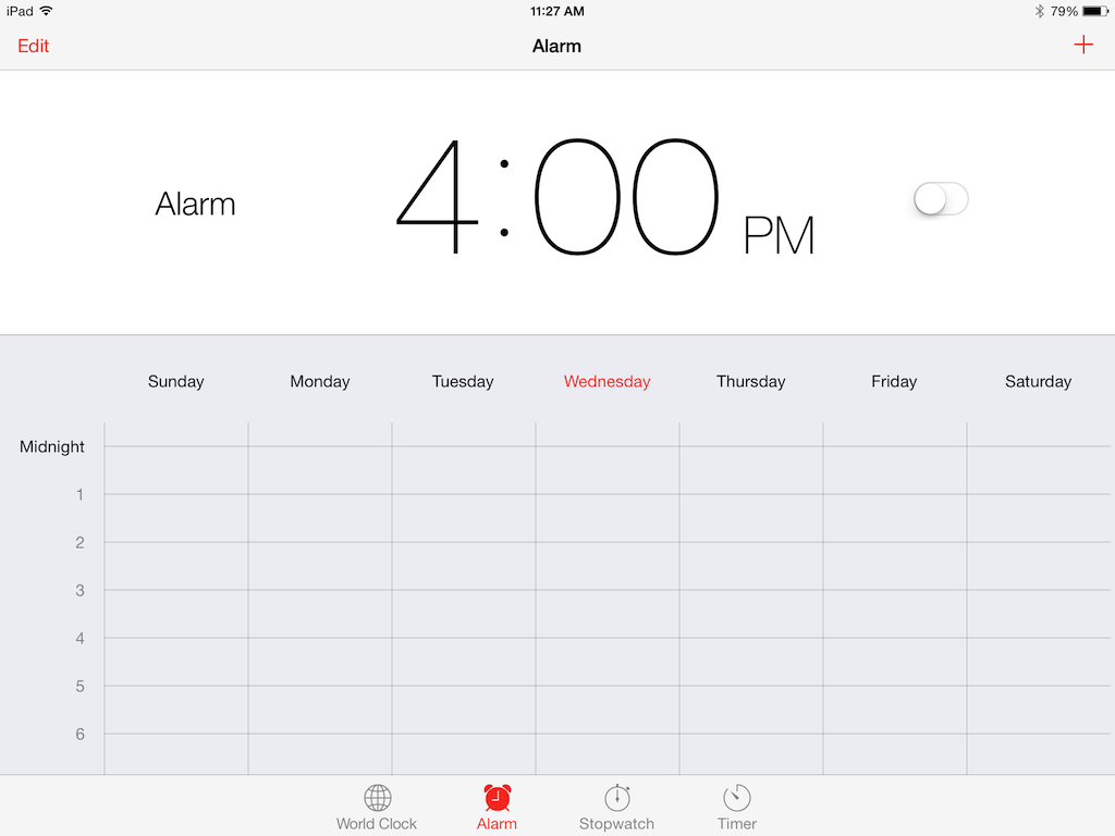 In the clock app, select Alarm
