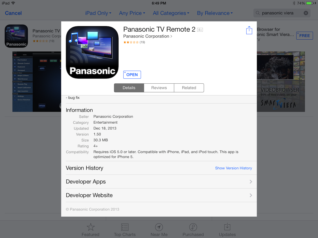 Screen Mirror Iphone 6 To Panasonic Tv reversadermcreamcom : Panasonic Smart TV Remote 2 connects your Smart TV and the iPad from reversadermcream.com size 1024 x 768 png 275kB
