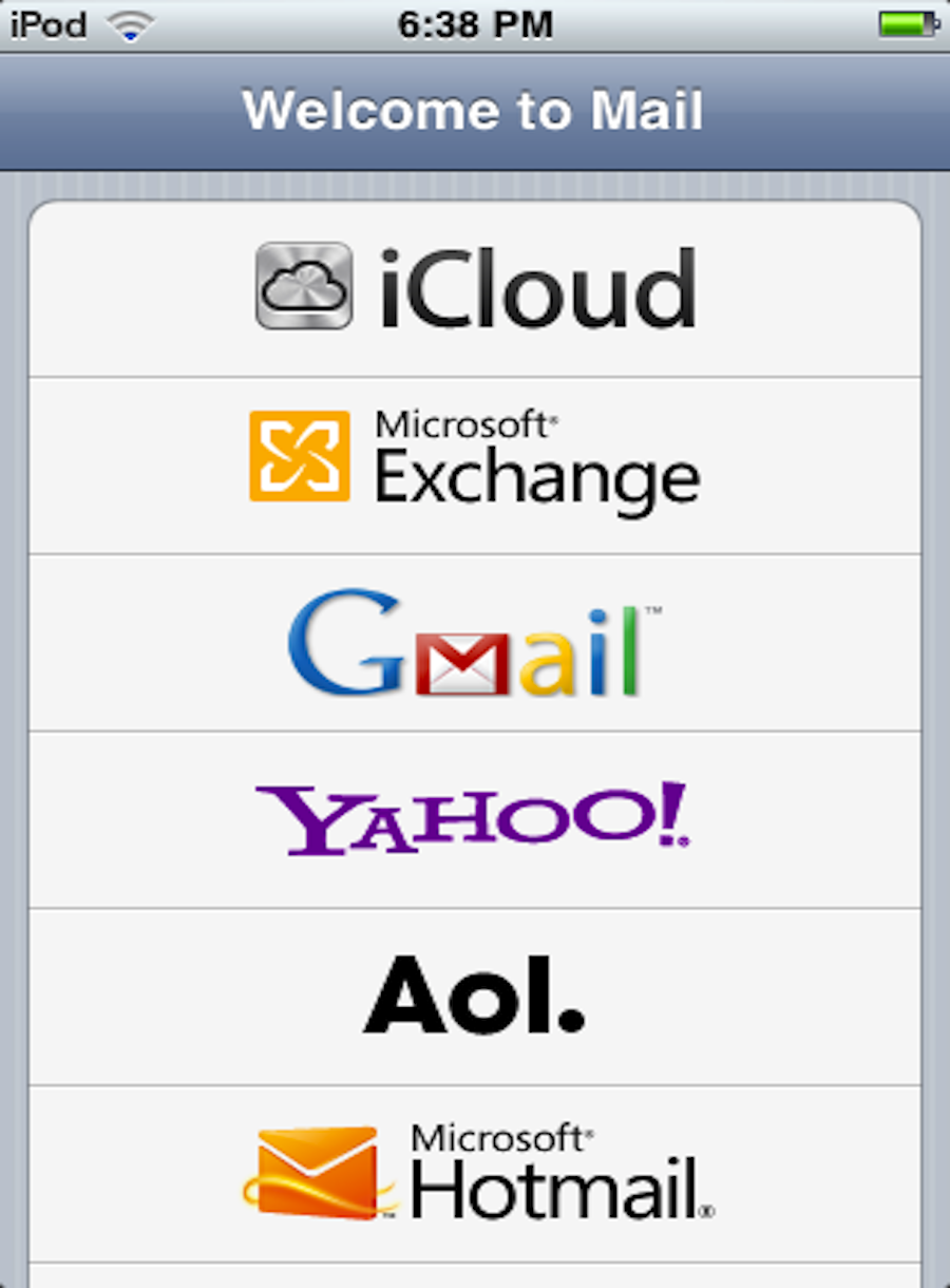 Select the Mail app, then choose your email provider