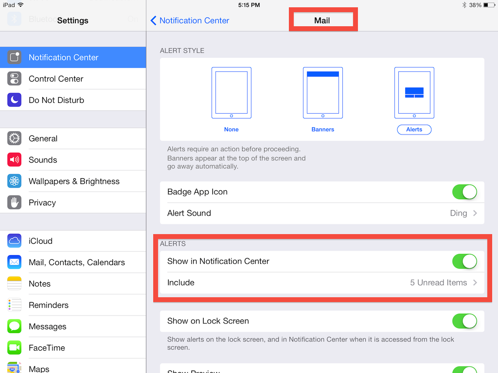Turn your mail in notification center function on to add mail to your pull-down window