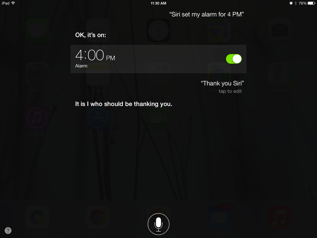 Using voice command, tell Siri to set your alarm for you