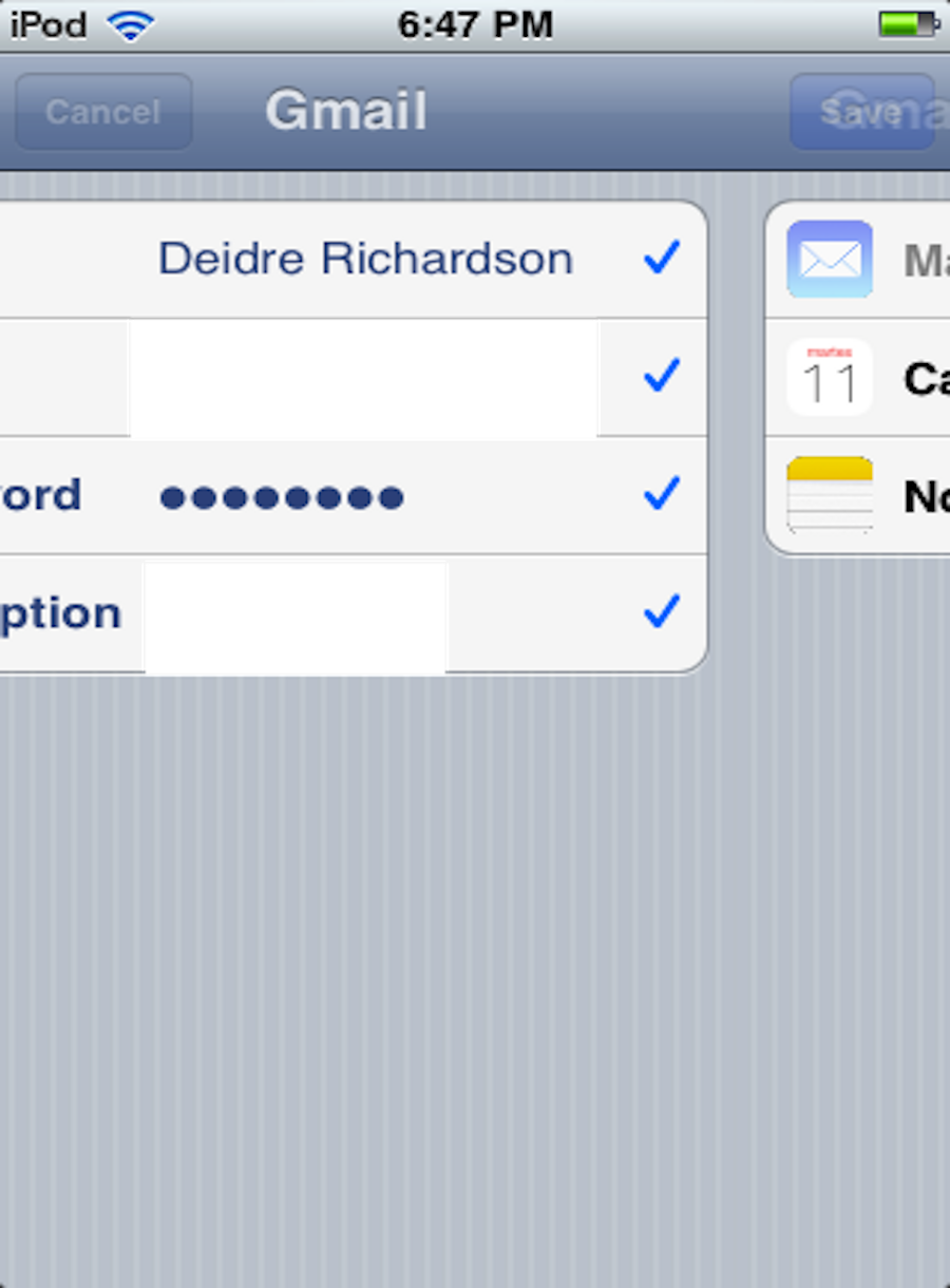 This image shows what happens when you supply your username, password, and email provider. You are then taken to a short list of calendar events, notes, etc., that will appear in your Mail app.