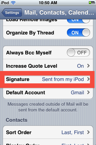 the signature tab allows you to modify your email signature