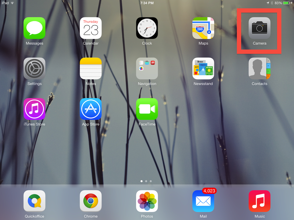 to create an iPad video, select camera on the home screen