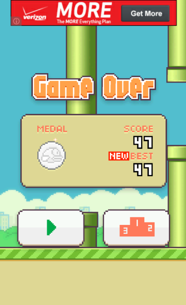 Flappy Bird score -- not the best, but a record best