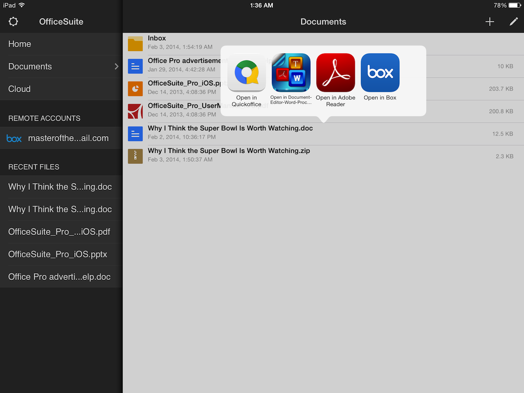 Next, select Box as the app you want to open your document in