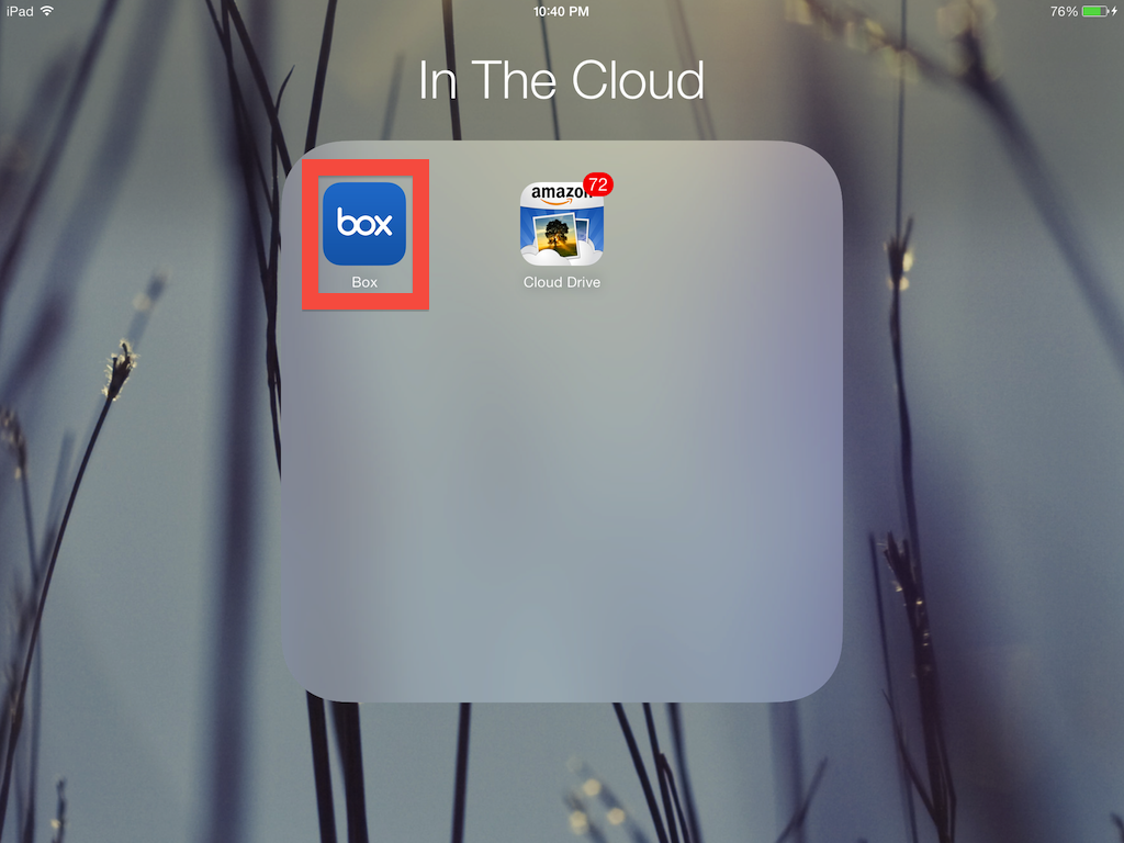 Share Files on Your iPad by selecting the Box app from your app list