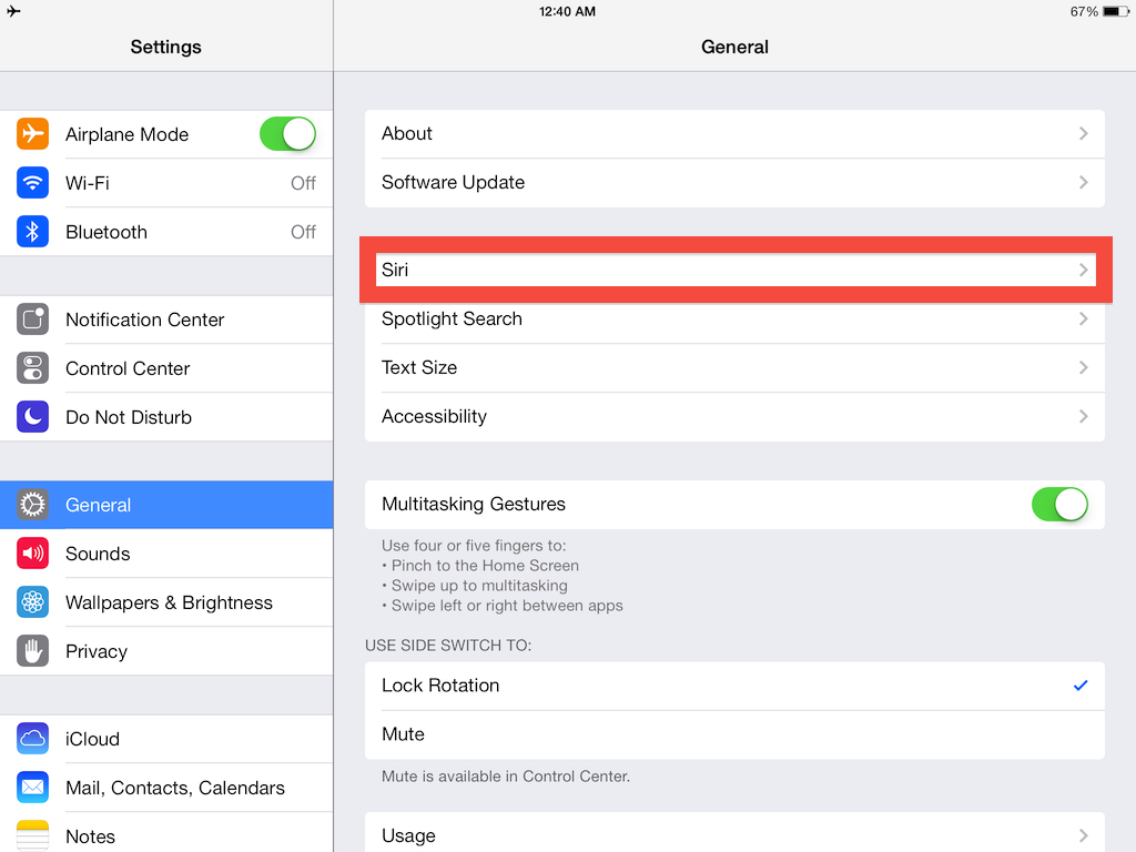 To Activate Siri On Your Ipad Go To The General Tab In