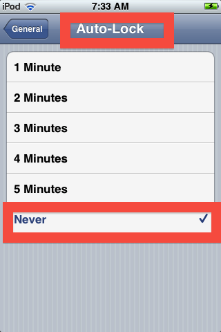 in your iPod Touch auto-lock settings, select never so your lock screen will not lock again