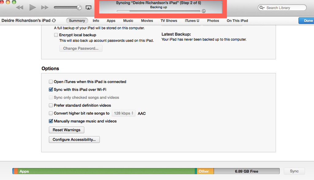 once you select sync, the iTunes Wi-Fi sync backup process will begin