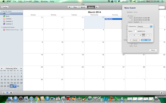 set up the day of the week, whether or not you want the event each month, and what day of the week in iCal