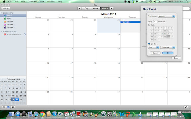 you can set the first thursday of each month in the monthly custom selection iCal