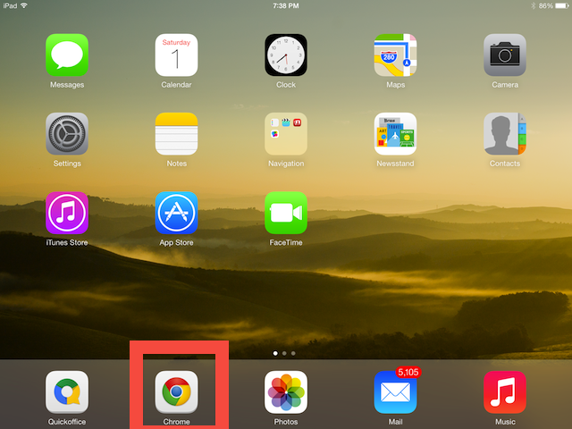 To view websites in non-mobile mode using Chrome, tap the Chrome icon on your iPad desktop