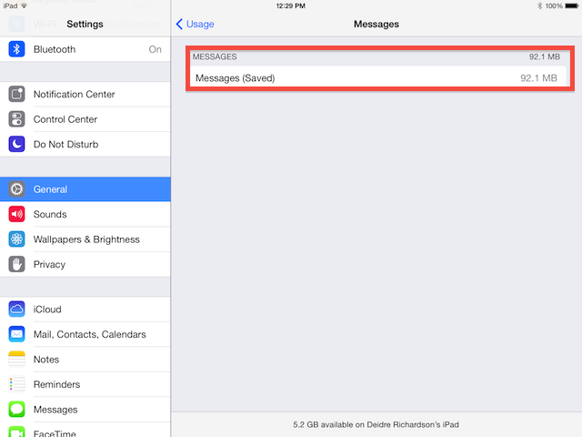 iMessage data amount before deletion