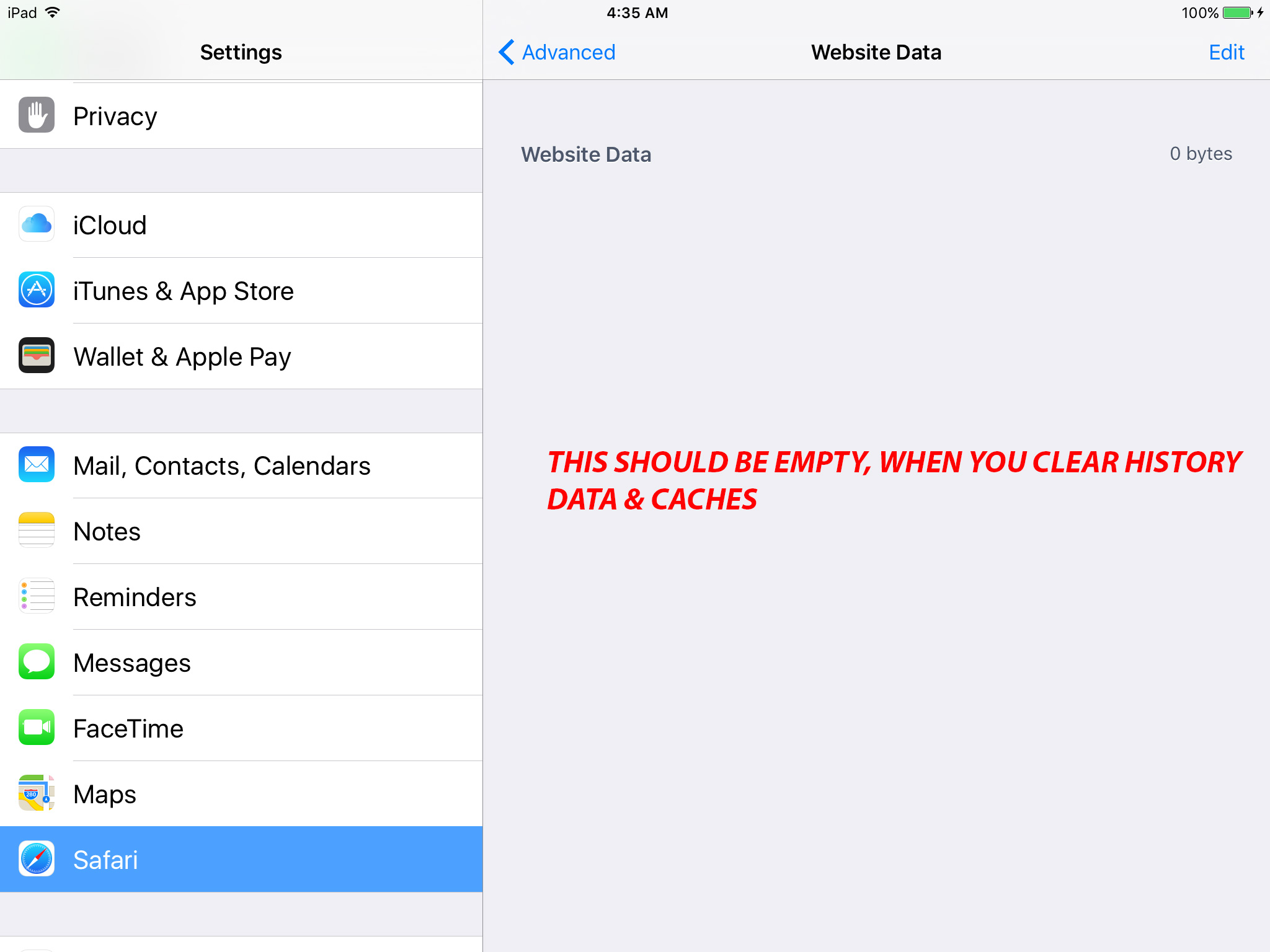 how to clear search history on ipad safari