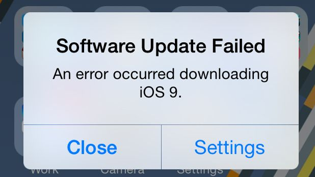 iOS 9.0 update failed error message: How To Fix It